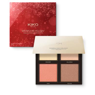 Paleta para el rostro con 4 iluminadores enriquecidos con oro - SPARKLING HOLIDAY FABULOUS HIGHLIGHTER PALETTE - KIKO MILANO